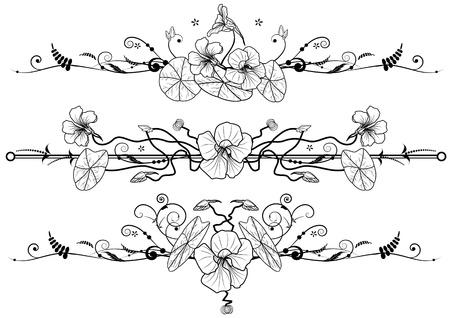 art nouveau: set di sfondi floreali con nasturzio nei colori bianco e nero