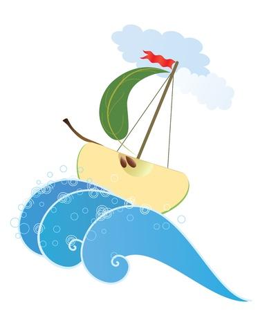 wholesome: Illustration  of the stylized apple like ship Illustration