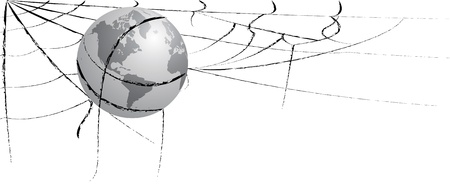 entangled: Illustration of the earth entangled in spiderweb, western hemisphere