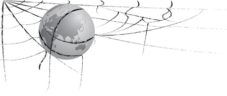 entangled: Illustration of the earth entangled in spiderweb,  eastern hemisphere