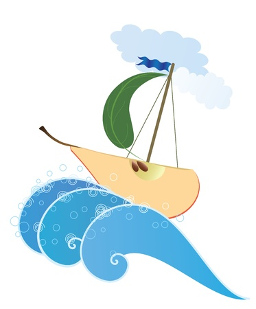 wholesome: Illustration  of the stylized pear like ship