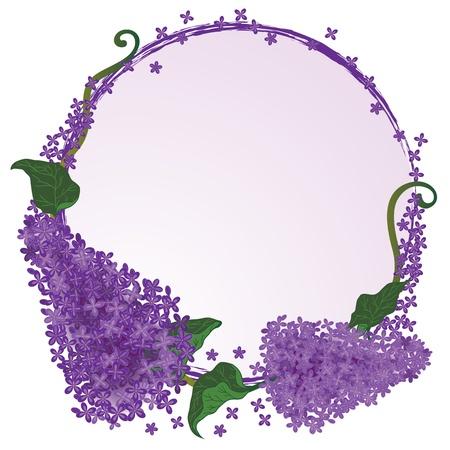 Vector marco con flores de la lila