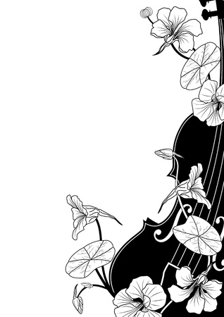 floral musical composition with violin in black and white colors Vector