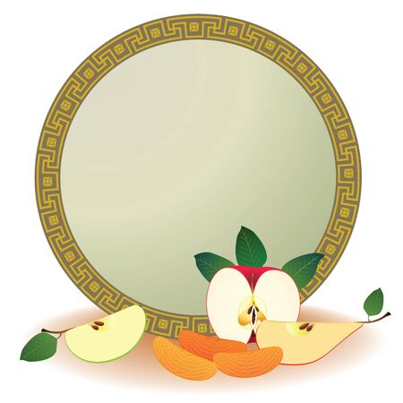 frame of apple, pear and orange Stock Vector - 13518926