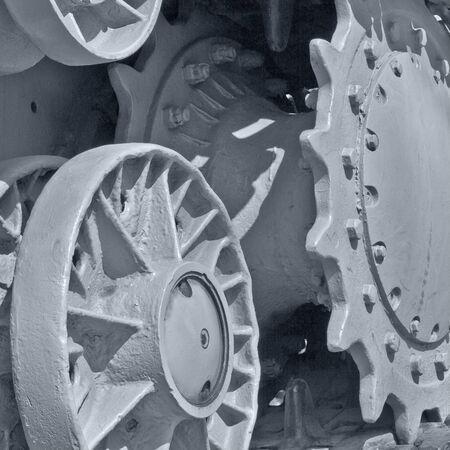 closeup fragment of caterpillar of old tank Stock Photo - 13604887