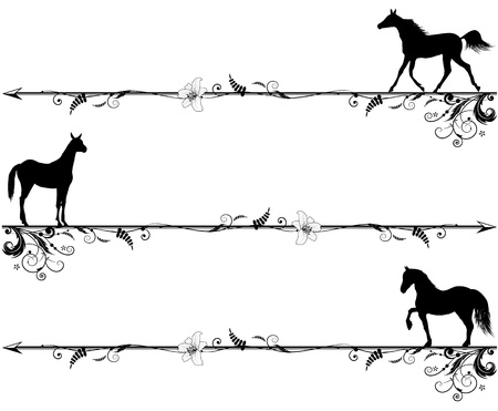 set of vector vignettes with horses in black and white colors