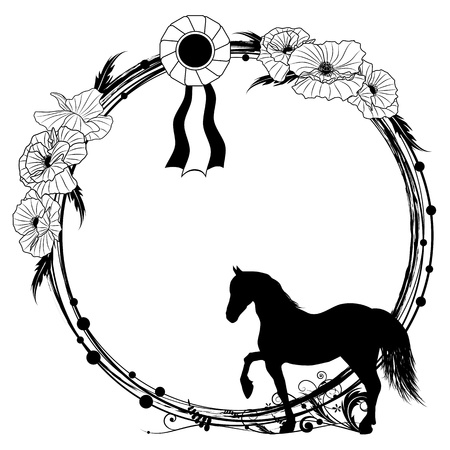 vector floral frame with horse, award rosette and poppies Ilustracja