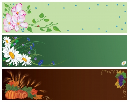 set of vector banners for spring, summer and autumn   Vector