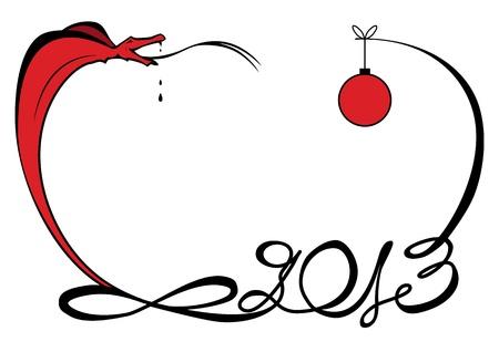 illustration of funny snake as symbol New Year 2013 Vettoriali