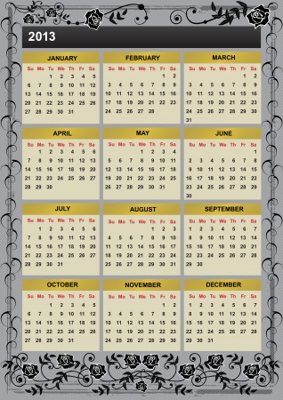 2013 calendar with branches of roses Vector