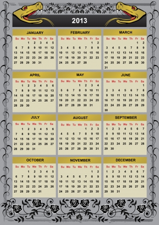 2013 calendar with snake and roses Vector