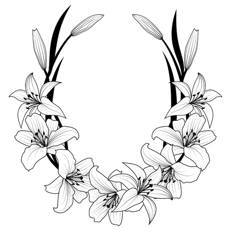 outline flower: frame with flowers of lily in black and white colors
