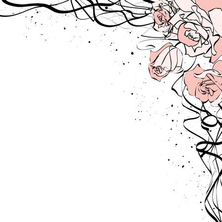 garabatos: ilustración de rosas para el diseño de la esquina Vectores