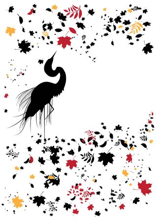 egret: vector background whit heron and autumnal leaves
