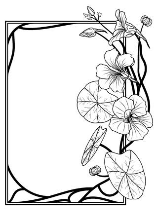 nasturtium: frame with nasturtium in black and white colors