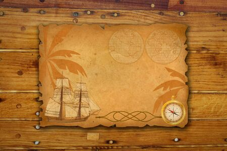vintage  background with  sea travel elements photo