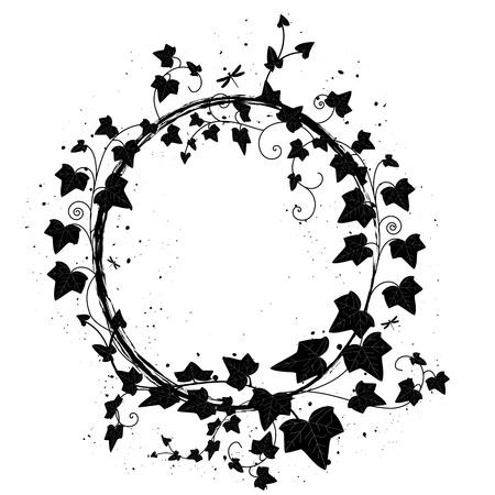 ovalen Rahmen mit Zweig der Efeu und Libellen