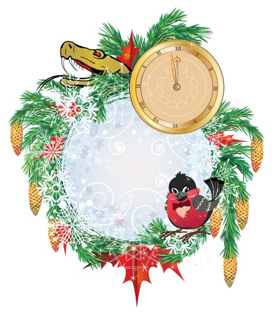 Christmas frame with  clock,  bullfinch and snake Stock Photo - 14928204