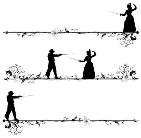duel: set of vignettes with fencing people