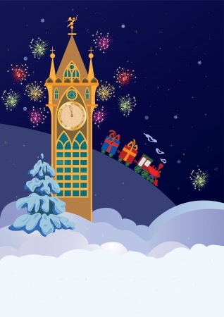 Christmas illustration of castle and locomotive with gifts Vector