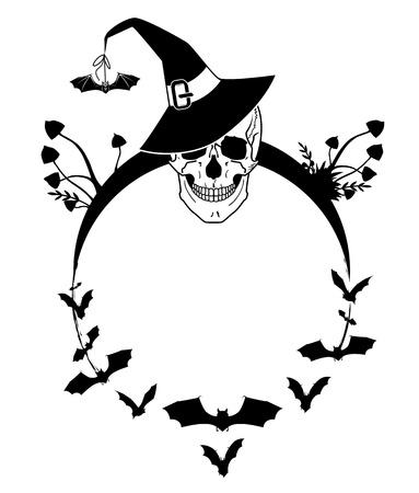 necromancy: vector Halloween illustration with skull, bats and mushrooms Illustration