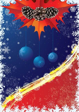 흰 서리: Christmas card  in blue and red colors with pine cones and snowflakes                                                        일러스트
