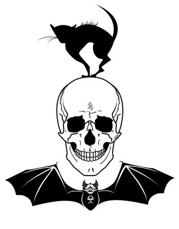 necromancy: Halloween illustration with skull, cat and bat