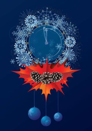 Christmas card with clock and snowflakes = Stock Vector - 15352956