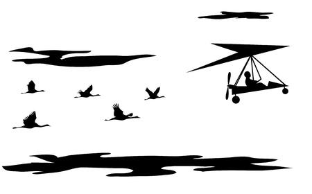 hang glider:  illustration of motorized hang glider and cranes