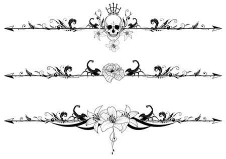 set of gothic borders with cranium, scorpions and flowers