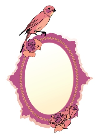 frame with flowers of roses and bird Vector