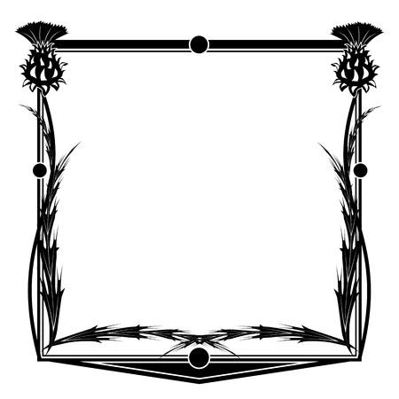 distel: quadratischen Rahmen mit Blumen Distel Illustration