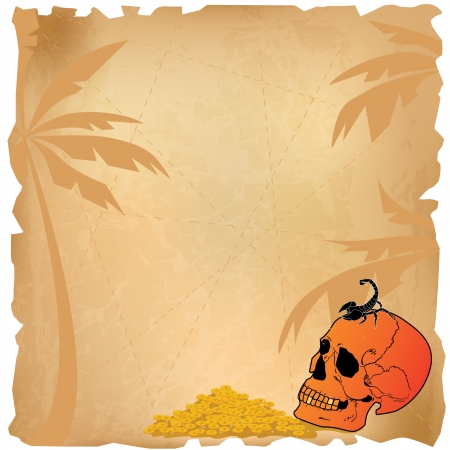 necromancy: background with skull and scorpion