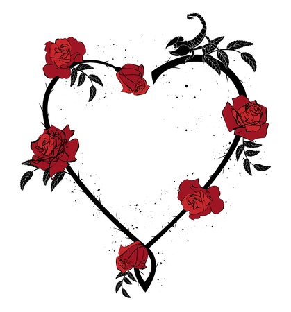 heart outline: valentine frame with roses and scorpion Illustration