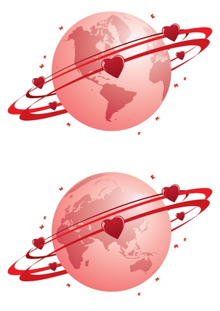 vector valentine abstract illustration with globe and hearts Stock Vector - 16038149