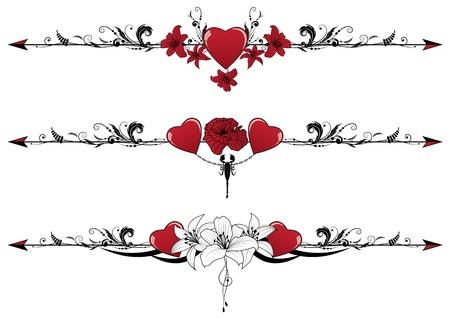 scorpion: vecteur s�rie de fronti�res Valentine avec des coeurs, des fleurs et des scorpions