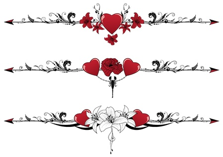 vector set of Valentine borders with hearts, scorpion and flowers