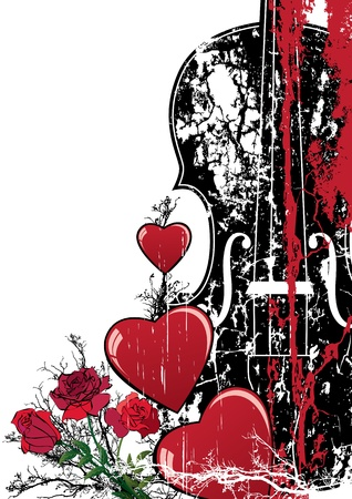 tense: Vector floral Valentine composition with hearts and violin in red, black and white colors