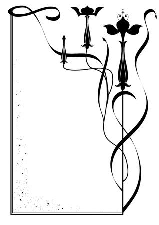 flores fucsia: vector marco con flores de color fucsia en blanco y negro