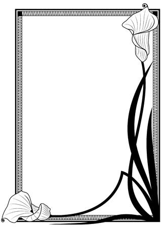 art nouveau: profondo-bodied crevalle vettore cornice floreale nei colori bianco e nero