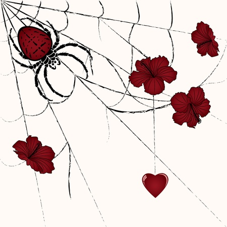suffering: vector floral valentine illustration with spider and heart