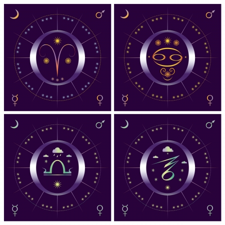 equinox: Set of allegorical vector illustration of 4 seasons with zodiacal symbols Illustration