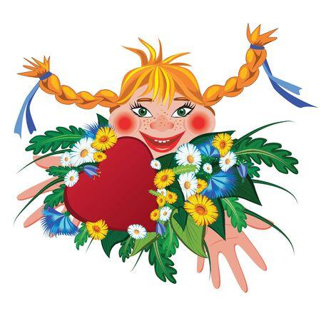 redheaded: vector valentine ilustraci�n con la muchacha y las flores