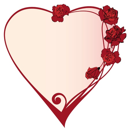 valentine  vector frame with the roses flowers Vector