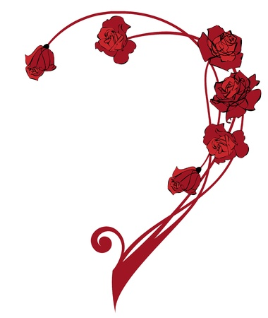 red rose border: valentine  vector border with the roses flowers