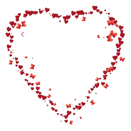 scattering: vector valentine frame like heart with butterflies