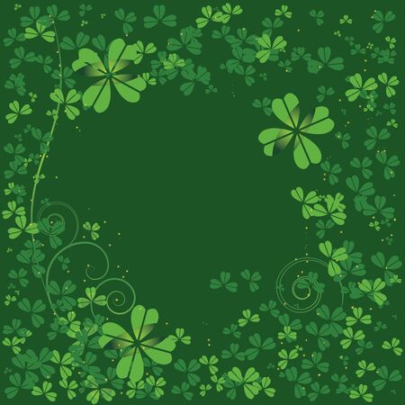 four leafed clover: St Patrick s day background with clover Illustration