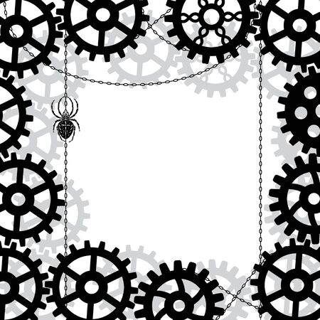 vector background with gears, spider and chains in black and white colors Stock Vector - 17603491