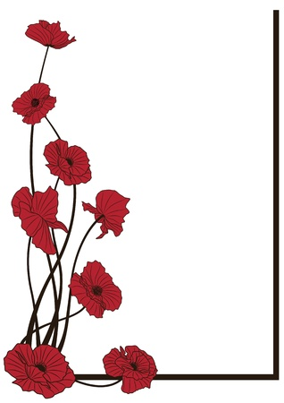 vector  background with poppies for corner design Vettoriali