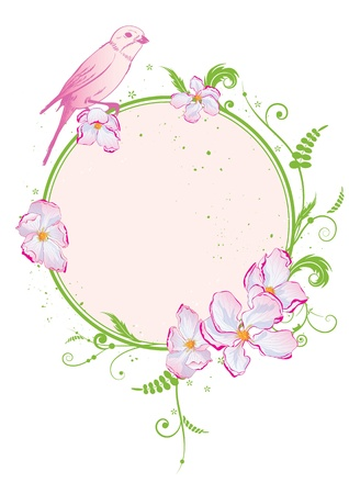 vector frame with flowers of apple tree and bird  EPS 10  Vector